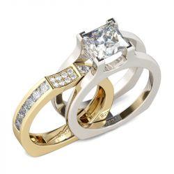 Two Tone Princess Cut Sterling Silver Ring Set