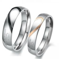 Two Tone Heart Titanium Steel Couple Rings