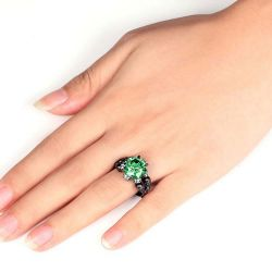 Four Skull Green Round Cut  Sterling Silver Skull Ring