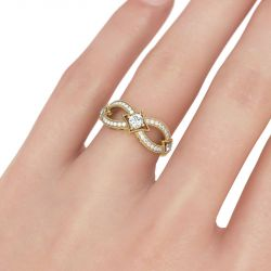 Gold Tone Infinity Round Cut Sterling Silver Women's Band