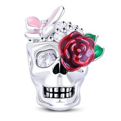 Enamel Rose Skull Sterling Silver