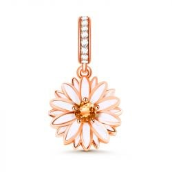 """Cheerfulness"" Daisy Flower Sterling Silver Dangle Charm"