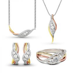 Jeulia Tri-Tone Round Cut Sterling Silver Jewelry Set