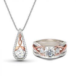 Jeulia Two Tone Round Cut Sterling Silver Jewelry Set