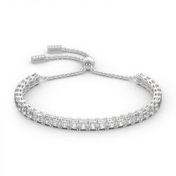 Classic Princess Cut Sterling Silver Bolo Tennis Bracelet
