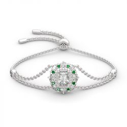 Jeulia Cinderella Halo Radiant Cut Sterling Silver Bracelet