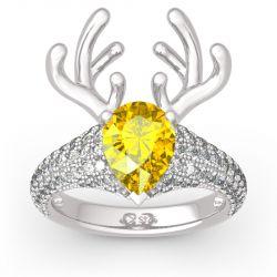 """""""Christmas Reindeer""""Antler Pear Cut Sterling Silver Animal Ring"""