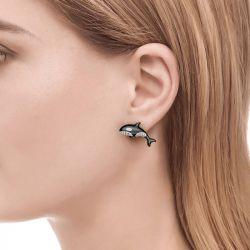 Orca Killer Whale Sterling Silver Earrings