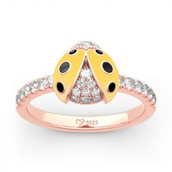 Lucky Yellow Ladybug Sterling Silver Ring