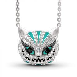 """Grinning Like a Cheshire Cat"" Sterling Silver Enamel Necklace"
