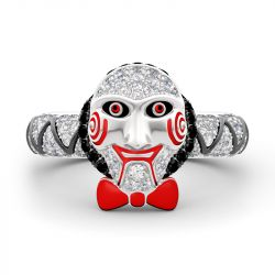 "Jeulia ""Horror Mask"" Sterling Silver Ring"