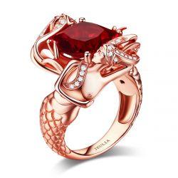 Jeulia Romantic Rose Gold Tone Cushion Cut Sterling Silver Mermaid Ring