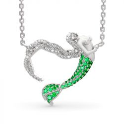 """Jeulia """"Ocean's Light"""" Sterling Silver Mermaid Gift Necklace for Valentine's Day"""