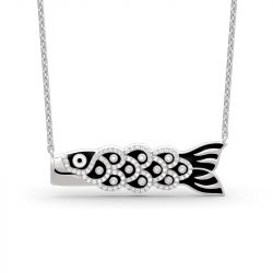 Japanese Koinobori Pendant Sterling Silver Necklace