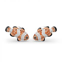 Clownfish Nemo Sterling Silver Stud Earrings
