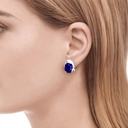 Jeulia Lovely Dolphin Sapphire Cushion Cut Sterling Silver Stud Earrings