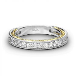 Jeulia Two Tone Scrollwork Sterling Silver Women's Band