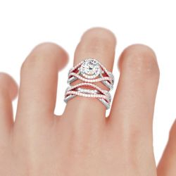 Jeulia Two Tone Interwoven Round Cut Sterling Silver Ring Set