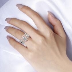 3PC Halo Emerald Cut Sterling Silver Ring Set