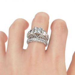 Princess Cut Sterling Silver Skull Ring