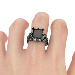 Black Tone Princess Cut Sterling Silver Skull Ring