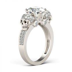 Jeulia Two Skull Design Round Cut Sterling Silver Skull Ring