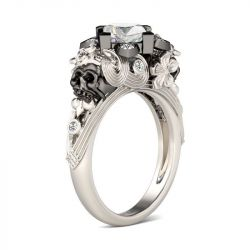 Flower & Heart Princess Cut Sterling Silver Skull Ring