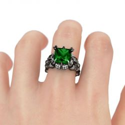 Black Tone Princess Cut Created Emerald  Four Skull Ring