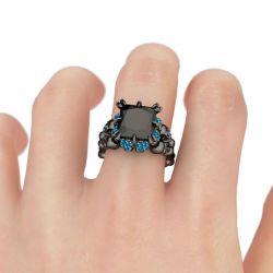 Jeulia Fancy Black Princess Cut Sterling Silver Skull Ring