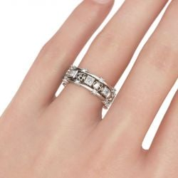 Skull Princess Cut Sterling Silver Women's Band