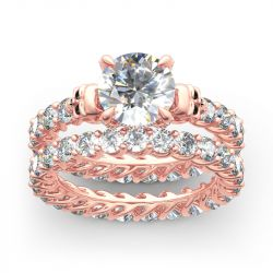 Jeulia Eternity Round Cut Sterling Silver Skull Ring Set