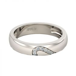 Jeulia Heart Shape Sterling Silver Women's Band