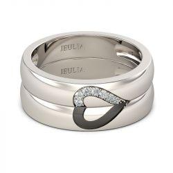 Jeulia Love Shape Sterling Silver Band Set