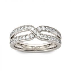 Crossover Round Cut Sterling Silver Women's Band