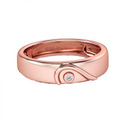 Rose Gold Tone Heart Design Sterling Silver Women's Band