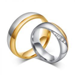 Two Tone Titanium Steel Couple Rings