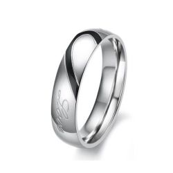 Jeulia Two Tone Heart Titanium Steel Men's Band