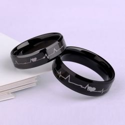 Black Heartbeat Style Tungsten Steel Couple Rings
