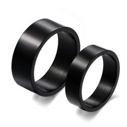 Simple Black Stainless Steel Couple Rings