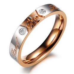Jeulia Two Tone Engraved Titanium Steel Ring