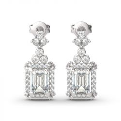 Jeulia Vintage Flower Halo Emerald Cut Sterling Silver Drop Earrings
