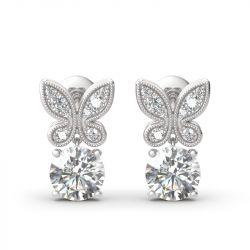 Butterfly Round Cut Sterling Silver Drop Earrings