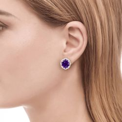 Amethyst Flower Round Cut Sterling Silver Stud Earrings