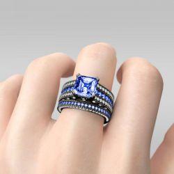 Jeulia Vintage Asscher Cut Sterling Silver Ring Set