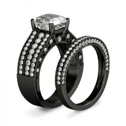 Jeulia Black Asscher Cut Sterling Silver Ring Set