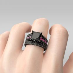 Black Princess Cut Sterling Silver Ring Set