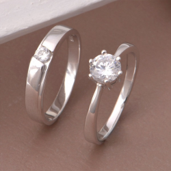Round Cut Sterling Silver Couple Rings