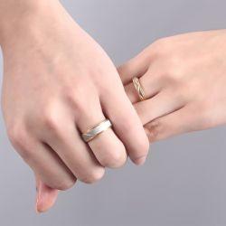Geometric Pattern Couple Rings Titanium Steel