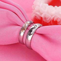 Jeulia Heart Couple Rings Titanium Steel
