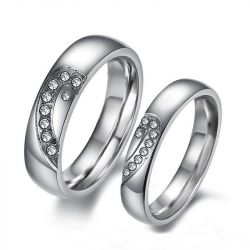 Simple Heart Couple Rings Titanium Steel